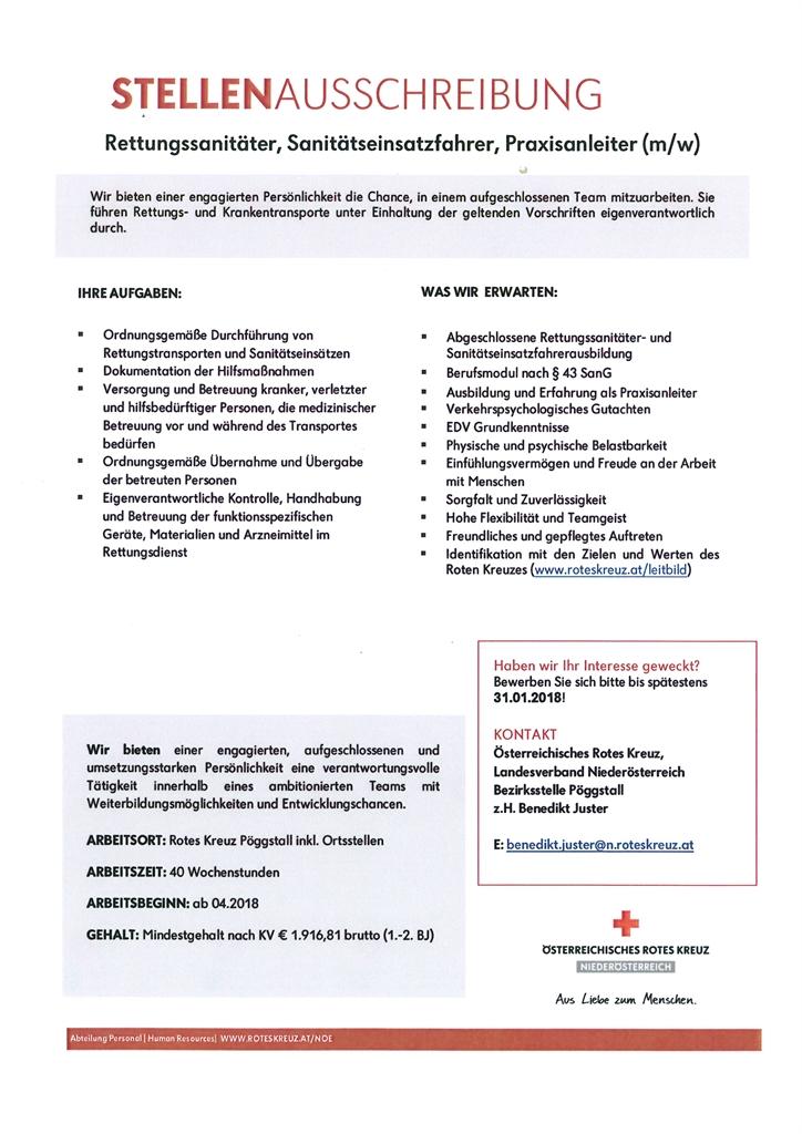stellenausschreibung rotes kreuz pggstall raxendorf ris kommunal startseite gemeinde service aktuelles - Bewerbung Rettungssanitater